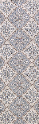 Geometric Floral 3x8 Machine Made Belgium Oriental Runner Rug Navy Blue