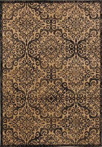 Geometric Floral 5x7 Machine Made Belgium Oriental Area Rug Brown
