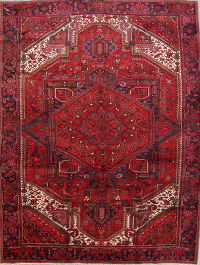 Hand-Knotted Red Geometric Heriz Persian Area Rug Wool 10x12