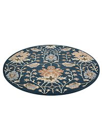 Navy Blue Floral Oushak Indian Wool Rug 10x10 Round
