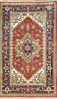 Geometric Foyer Size Rust Color 3x5 Heriz Indian Oriental Area Rug