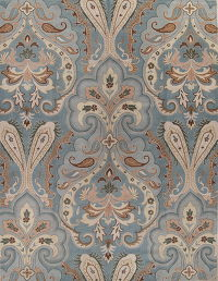 Hand-Tufted Floral Light Blue Oushak Oriental Area Rug 11x16