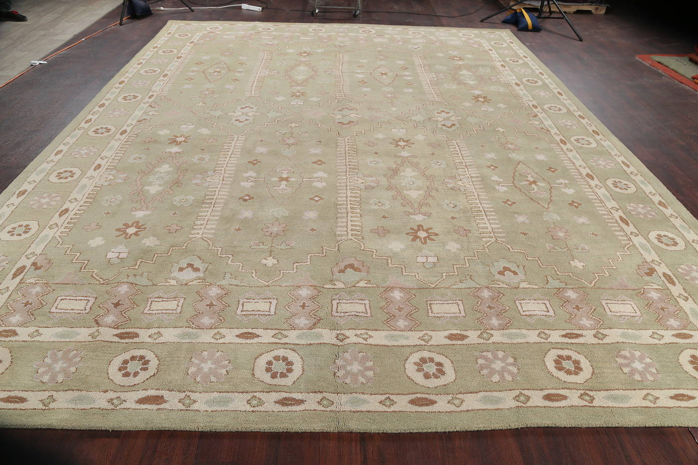 Hand-Tufted Floral Light Blue Oushak Oriental Area Rug 12x16