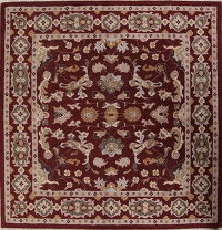 Floral Burgundy Square Oushak Oriental Area Rug 12x12