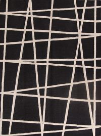 Geometric Black Trellis Indian Oriental Hand-Tufted Area Rug Wool 9x12