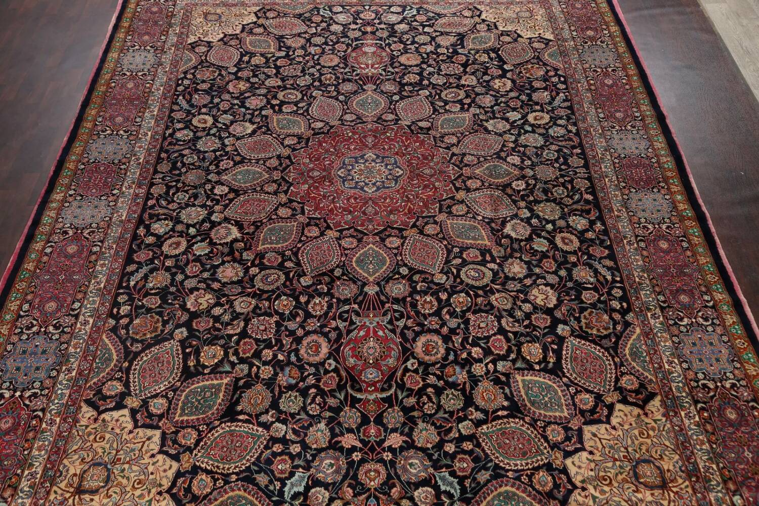 Large Floral Mashad Persian Area Rug 11x15 image 3