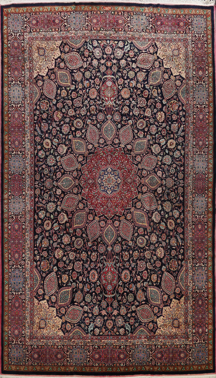 Large Floral Mashad Persian Area Rug 11x15 image 1