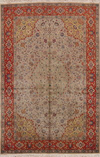 Vegetable Dye Green Floral Tabriz Persian Area Rug 7x10