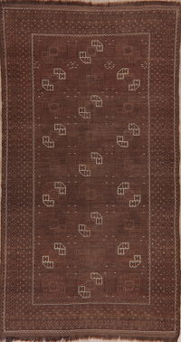 Pre-1900 Antique Brown Balouch Afghan Oriental Area Rug 4x8