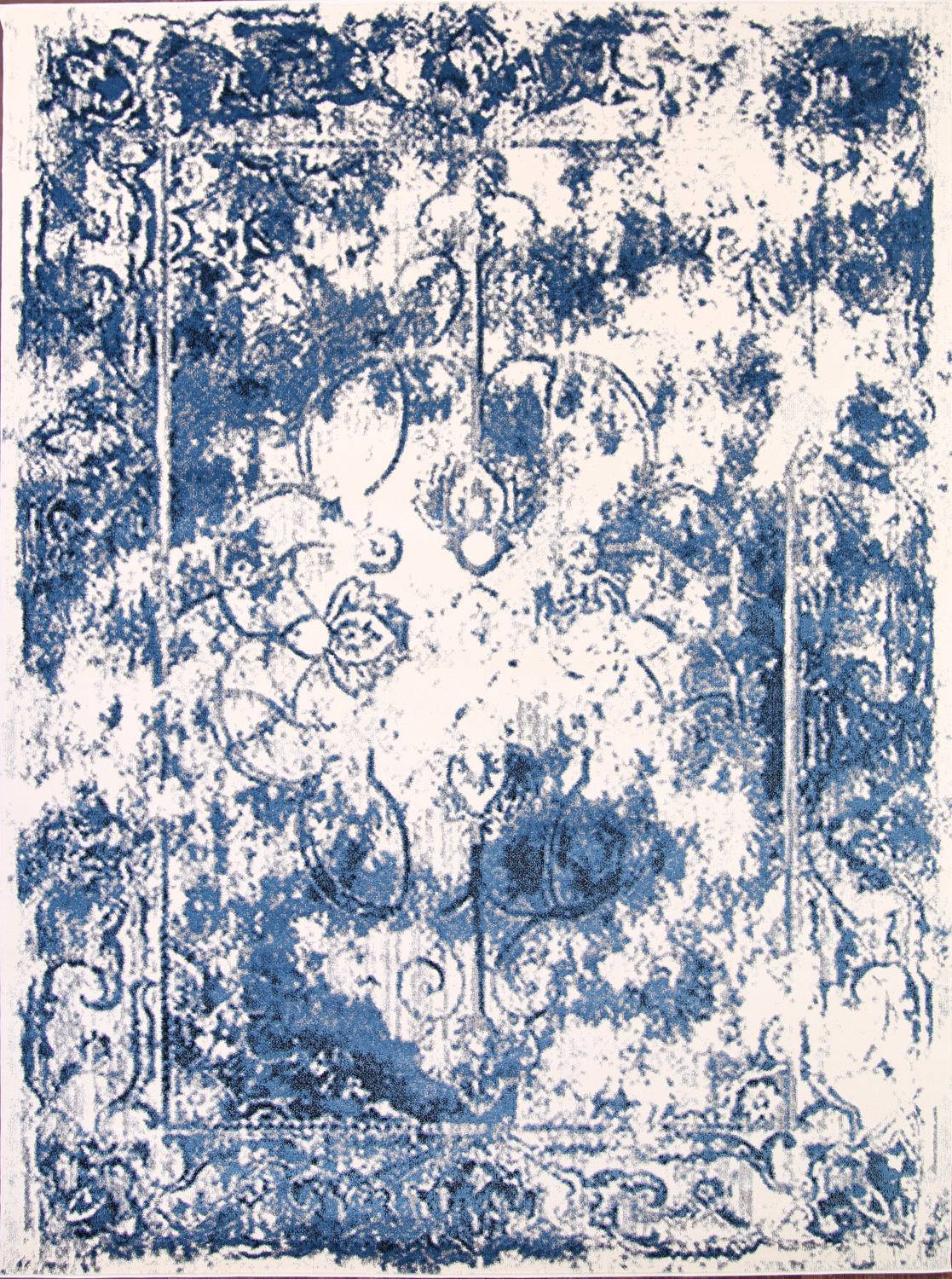 Reproduction Abstract Turkish Distressed Blue/Ivory Oriental Area Rug image 1