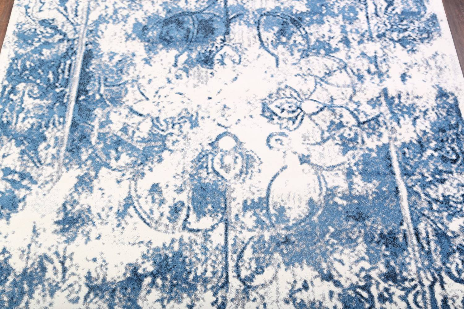 Reproduction Abstract Turkish Distressed Blue/Ivory Oriental Area Rug image 3