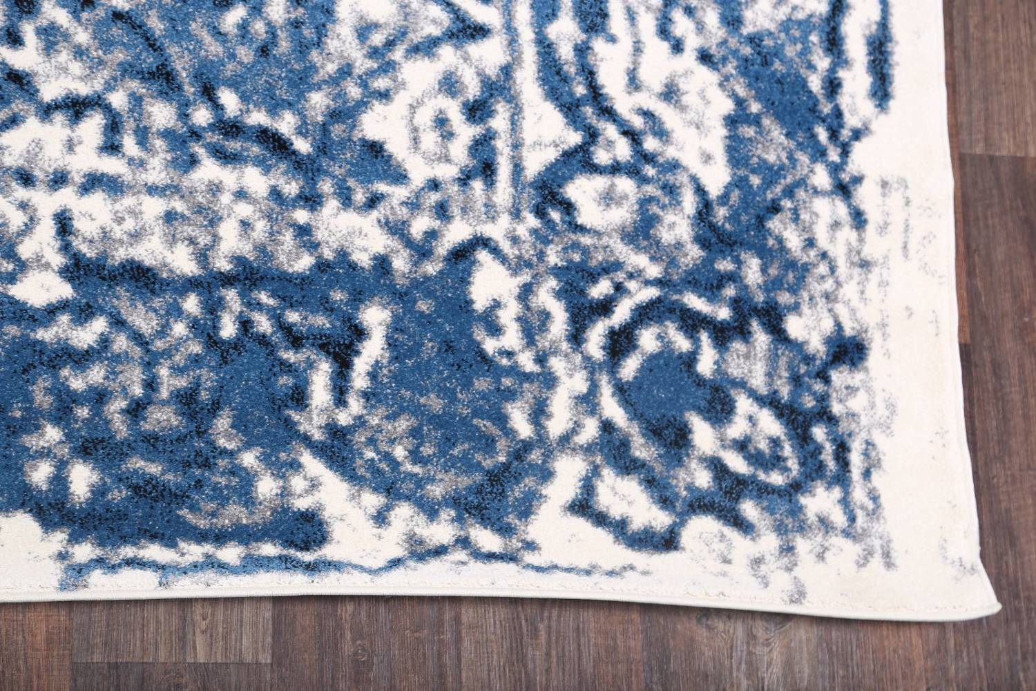 Reproduction Abstract Turkish Distressed Blue/Ivory Oriental Area Rug image 4