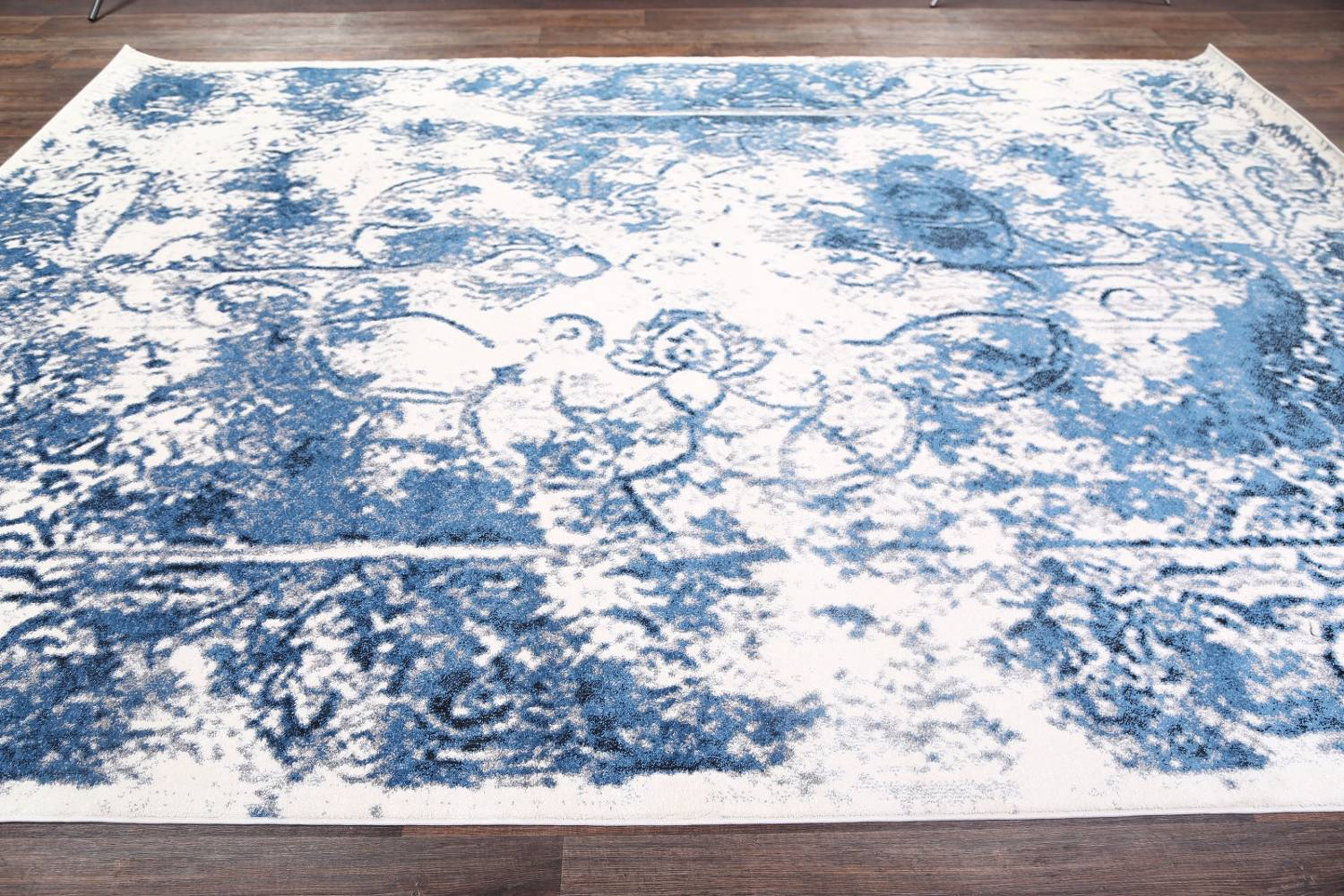 Reproduction Abstract Turkish Distressed Blue/Ivory Oriental Area Rug image 6