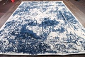 Reproduction Abstract Turkish Distressed Blue/Ivory Oriental Area Rug image 7