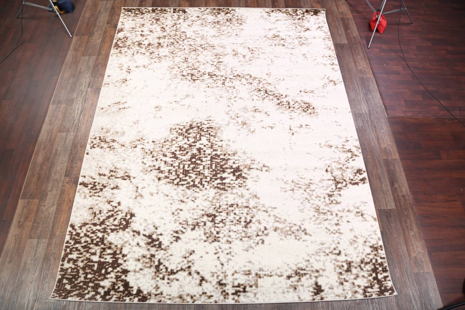 Reproduction Abstract Modern Ivory/Brown Turkish Oriental Area Rug image 2