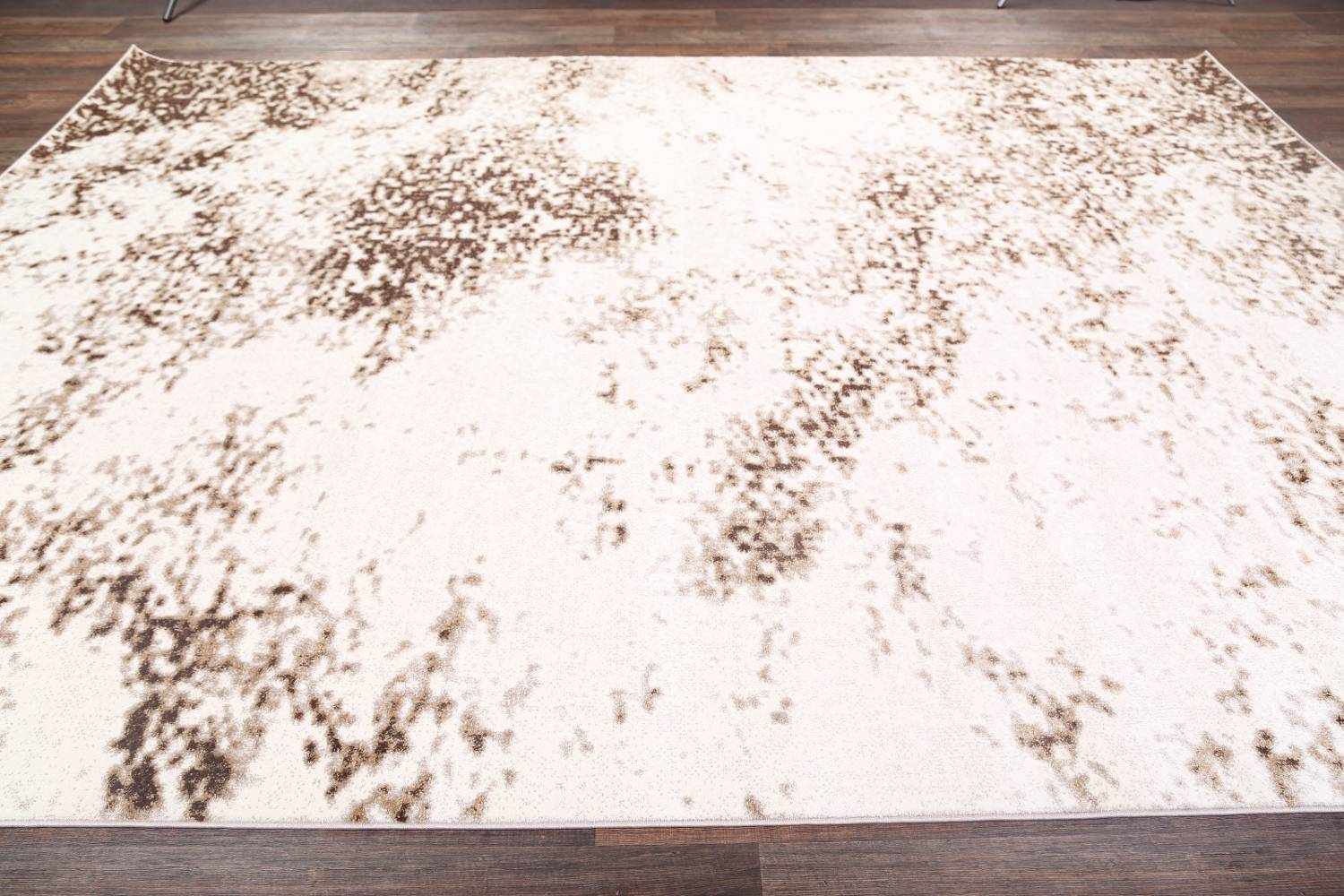 Reproduction Abstract Modern Ivory/Brown Turkish Oriental Area Rug image 6