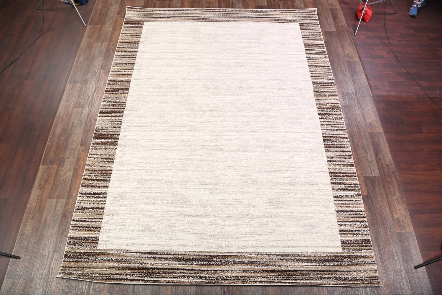Contemporary Reproduction Modern Turkish Oriental Ivory/Brown Area Rug image 2