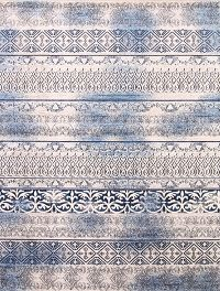 Reproduction Abstract Turkish Distressed Blue/Ivory Oriental Area Rug