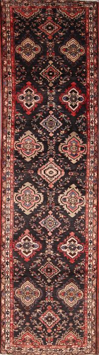 Floral Runner Malayer Hamedan Black Persian Runner Rug 3x13