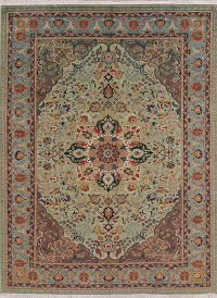 Green Floral Signed Tabriz Persian Area Rug 7x9