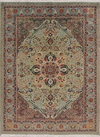 Green Floral Tabriz Persian Area Rug 7x9