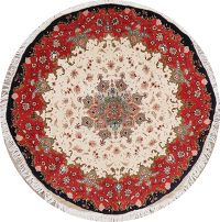 Wool/Silk 400 Knots Ivory Floral Tabriz Persian Round Rug 5x5