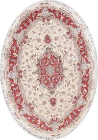 Ivory Floral Tabriz Persian Oval Area Rug 7x10