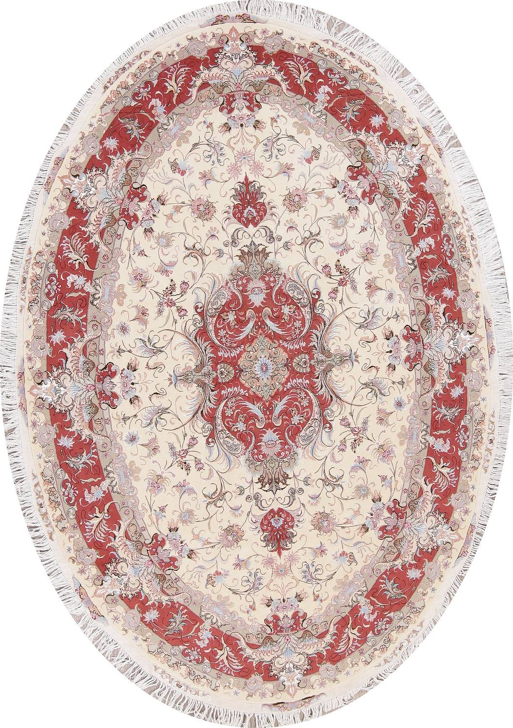Image of: Ivory Floral Tabriz Persian Oval Area Rug 7×10
