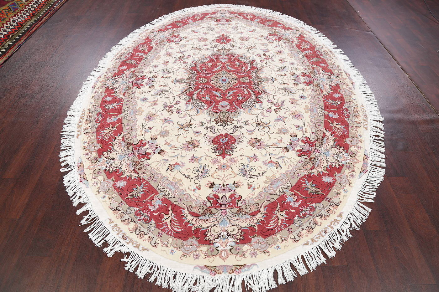 Ivory Floral Tabriz Persian Oval Area Rug 7x10 image 15