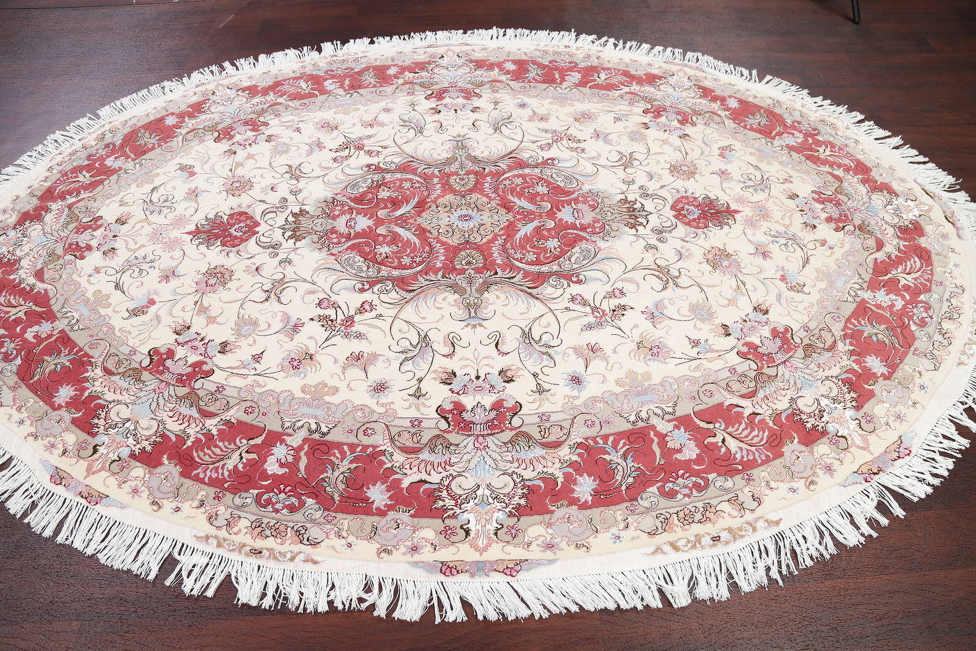 Ivory Floral Tabriz Persian Oval Area Rug 7x10 image 14
