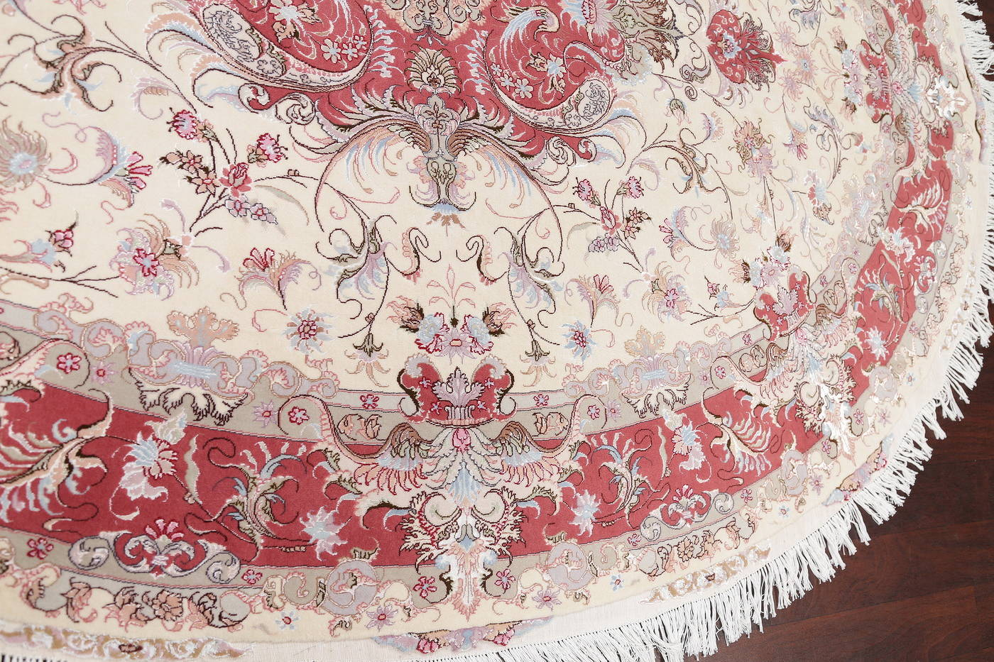 Ivory Floral Tabriz Persian Oval Area Rug 7x10 image 13