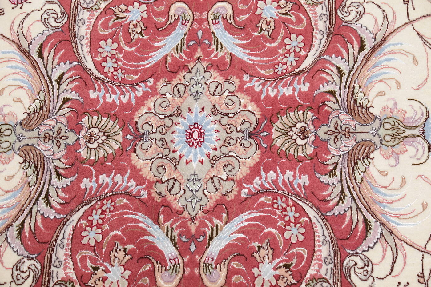 Ivory Floral Tabriz Persian Oval Area Rug 7x10 image 8