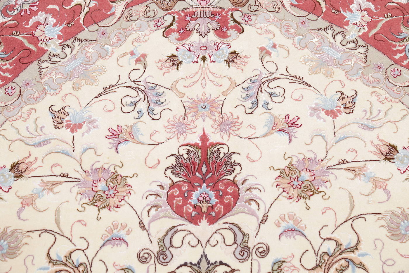 Ivory Floral Tabriz Persian Oval Area Rug 7x10 image 12