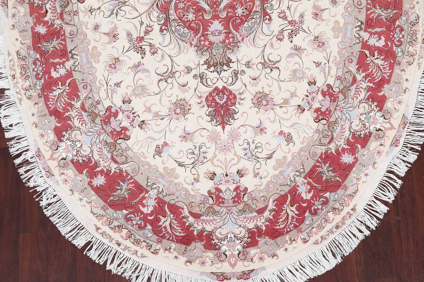 Ivory Floral Tabriz Persian Oval Area Rug 7x10 image 5