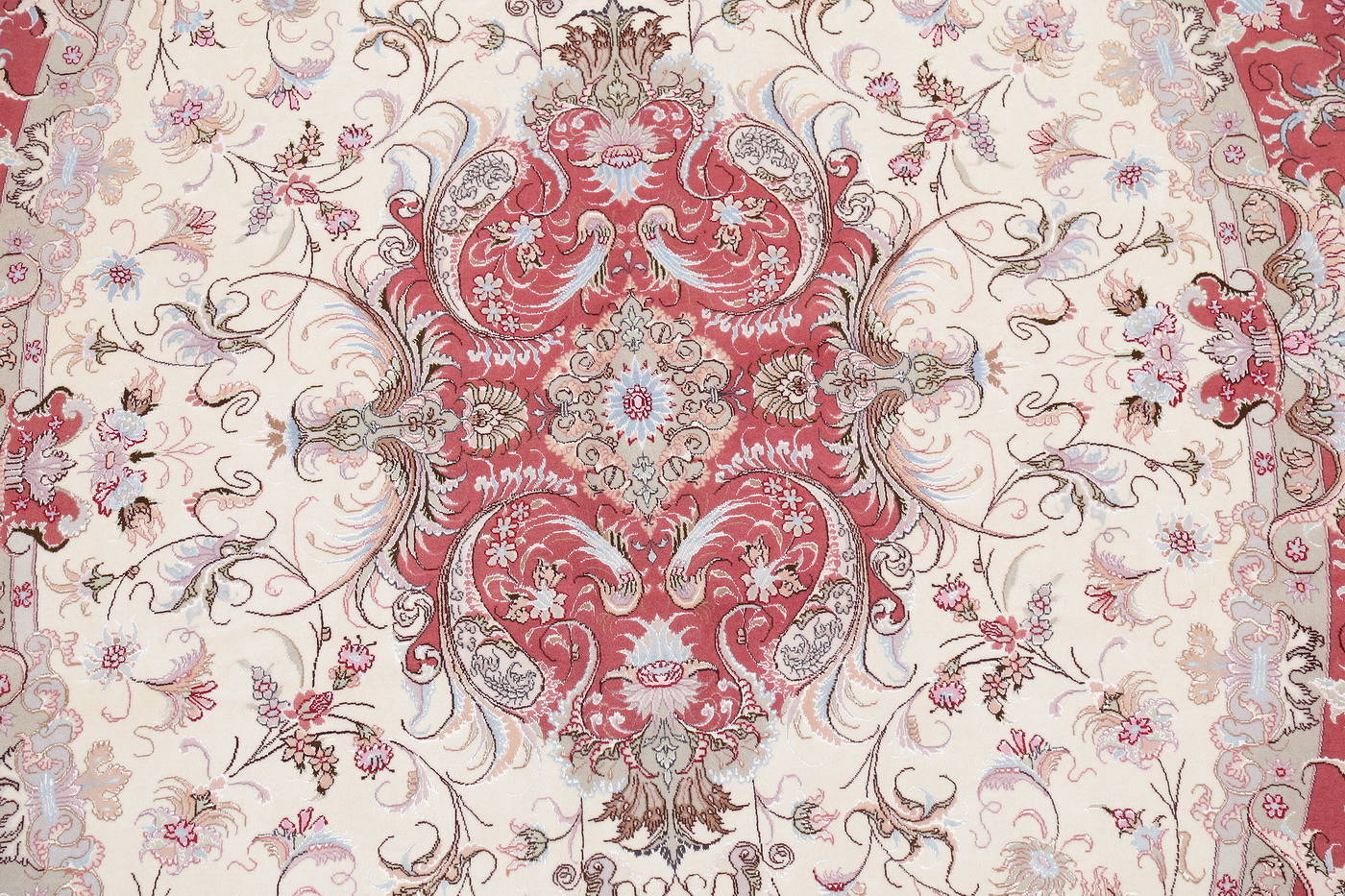 Ivory Floral Tabriz Persian Oval Area Rug 7x10 image 4