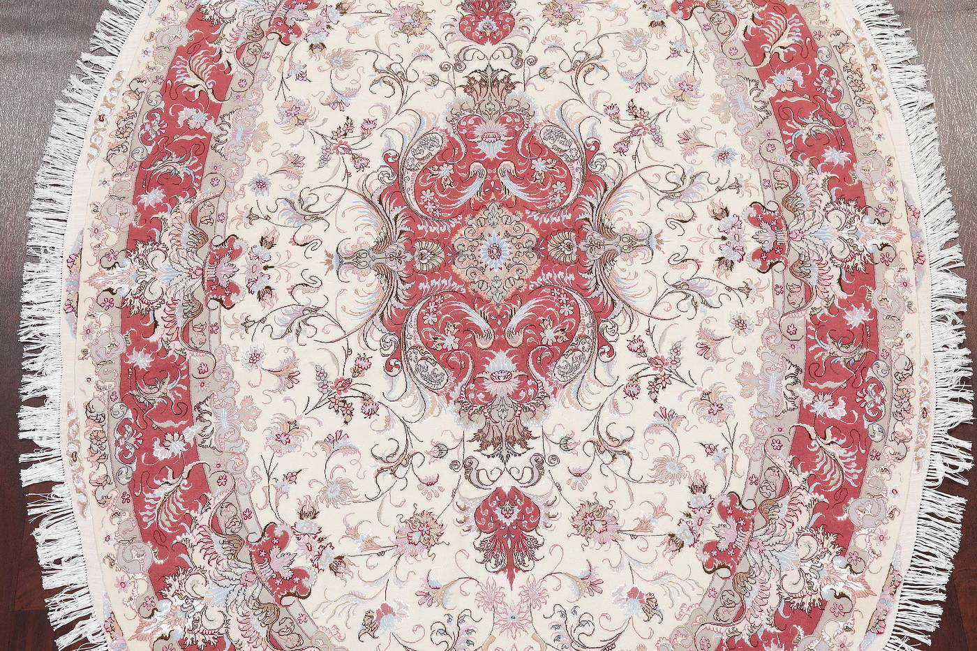 Ivory Floral Tabriz Persian Oval Area Rug 7x10 image 3