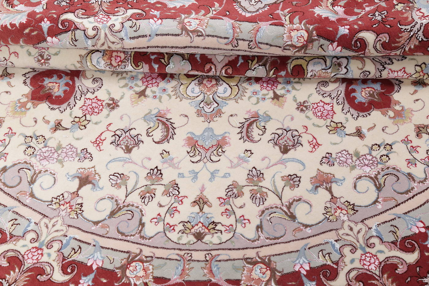 Ivory Floral Tabriz Persian Round Rug 9'x9' image 17
