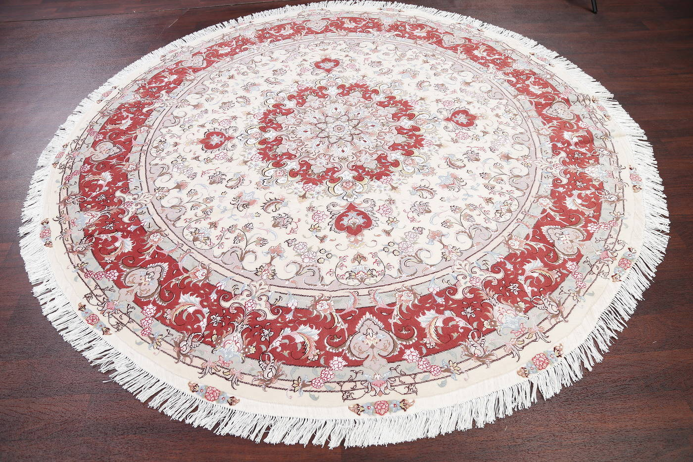 Ivory Floral Tabriz Persian Round Rug 9'x9' image 15