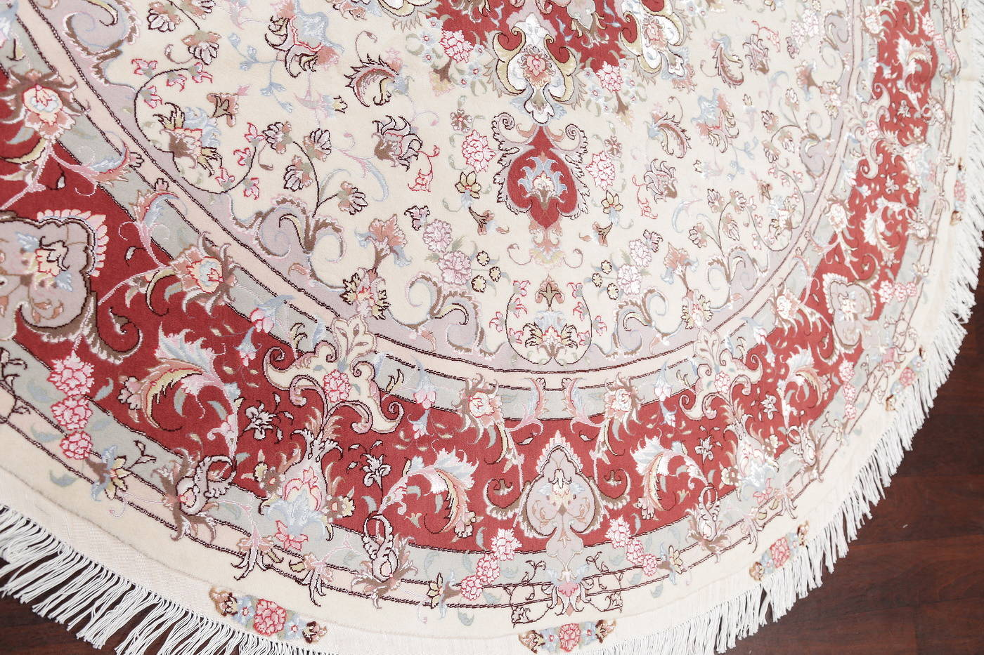 Ivory Floral Tabriz Persian Round Rug 9'x9' image 7
