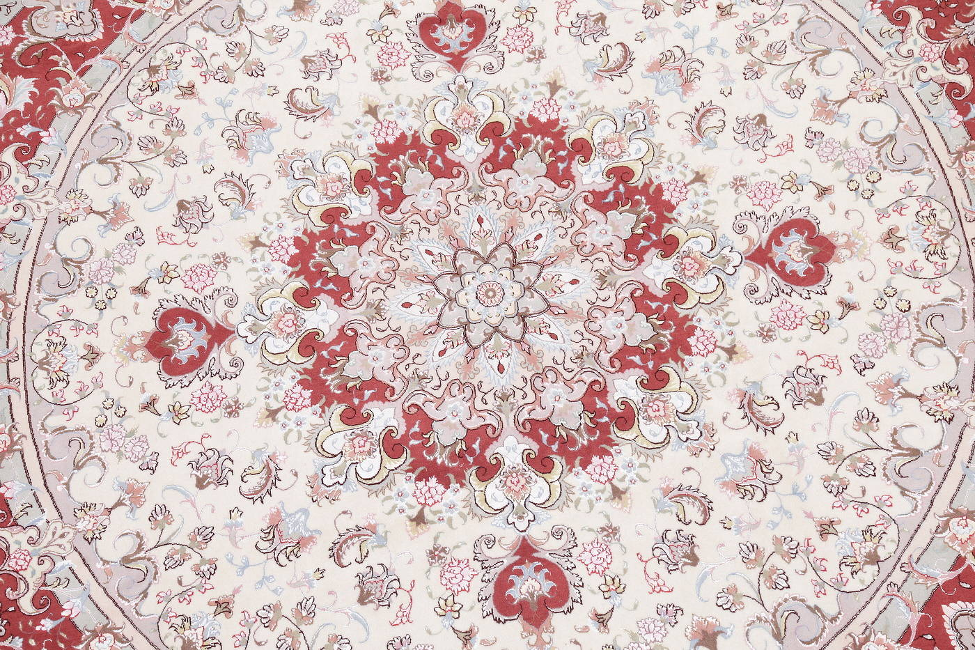 Ivory Floral Tabriz Persian Round Rug 9'x9' image 4