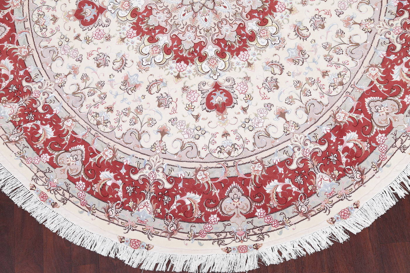 Ivory Floral Tabriz Persian Round Rug 9'x9' image 6
