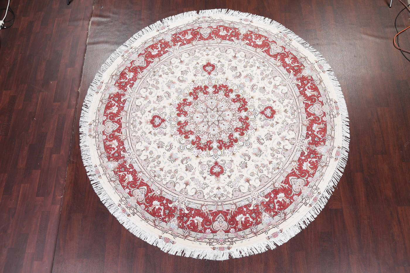 Ivory Floral Tabriz Persian Round Rug 9'x9' image 2
