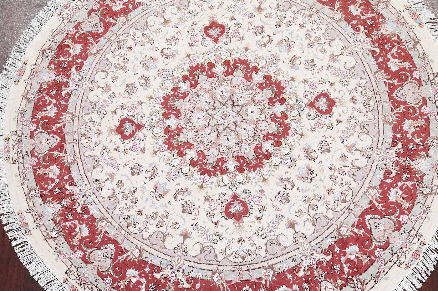 Ivory Floral Tabriz Persian Round Rug 9'x9' image 3