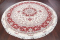 Ivory Floral Tabriz Persian Round Rug 9'x9' image 14