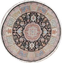 Floral Animal Pictorial Tabriz Persian Round Area Rug 10x10
