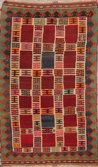 Tribal Kilim Shiraz Persian Area Rug 5x8