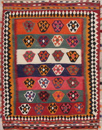 Geometric Tribal Kilim Shiraz Persian Area Rug 6x8