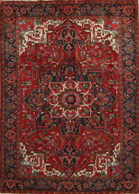 Red Geometric Heriz Persian Area Rug 8x10