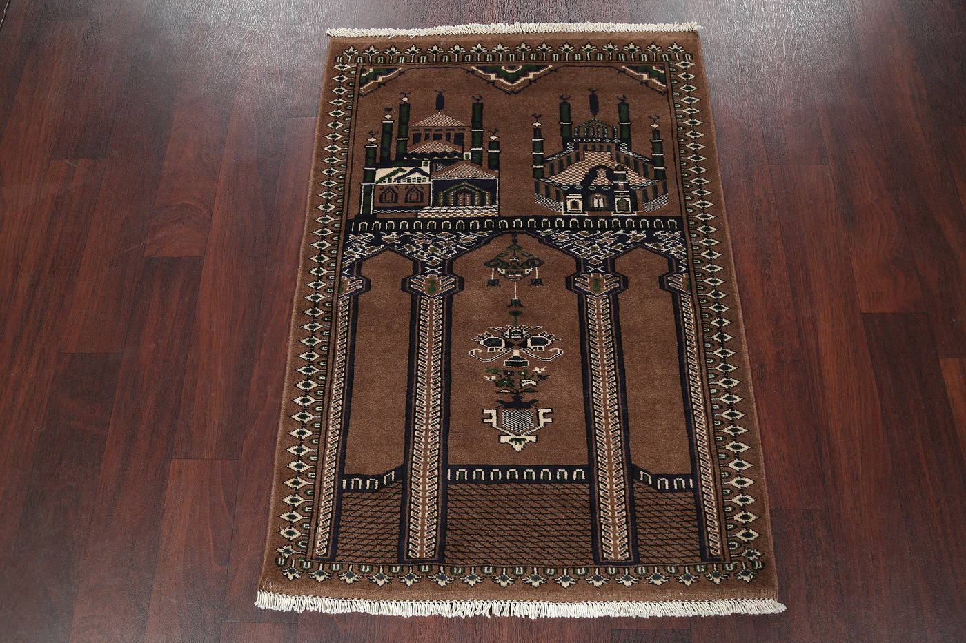 Pictorial Turkoman Bokhara Persian Prayer Rug 3x4