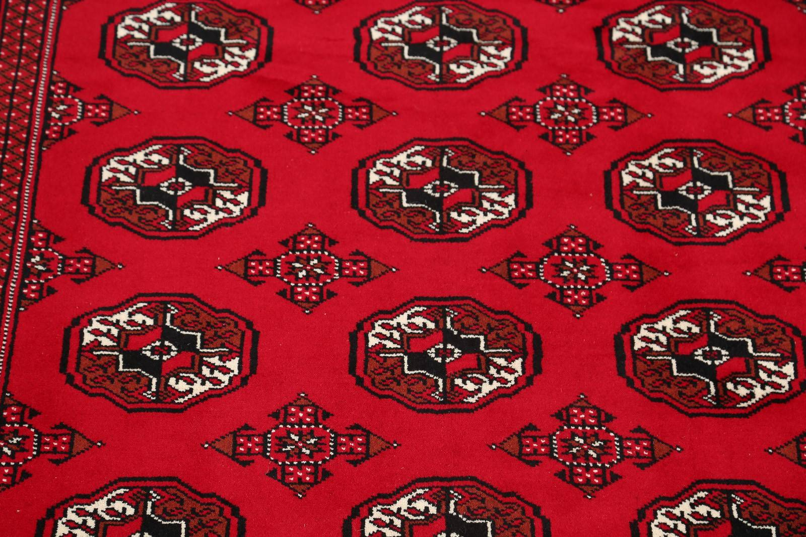Red Geometric Balouch Bokhara Persian Area Rug 5x8
